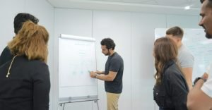 Tarabut Gateway team planning session around a white board