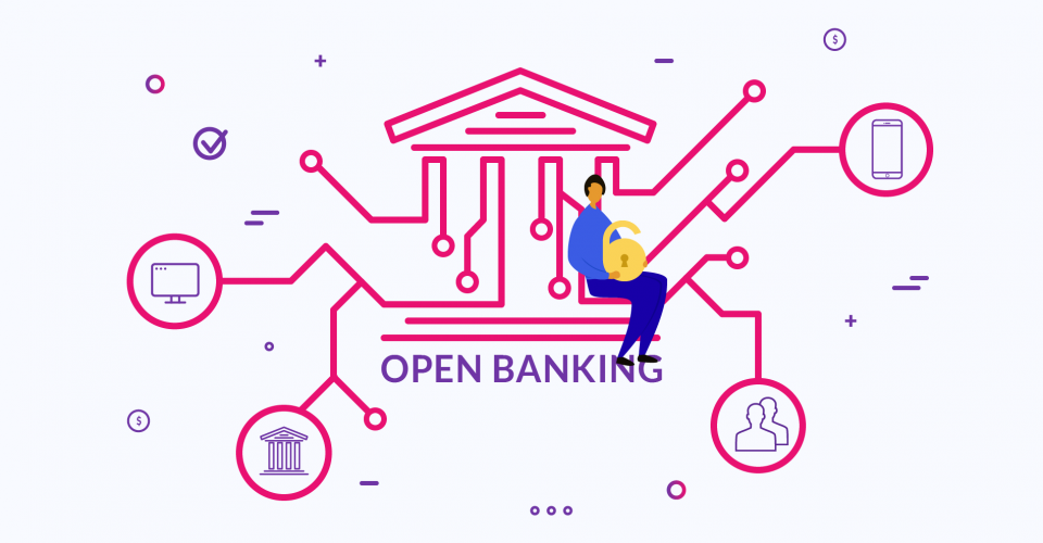 """Illustration of a man at a bank that says """"Open Banking"""""""